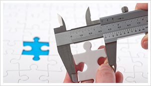 Measuring jigsaw puzzle piece for missing spot